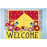 Jellybean Welcome Window Box Garden Indoor/Outdoor Machine Washable 21'' x 33'' Accent Rug
