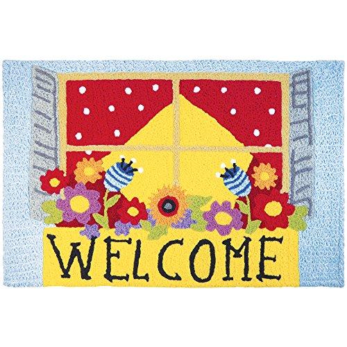 Jellybean Welcome Window Box Garden Indoor/Outdoor Machine Washable 21'' x 33'' Accent Rug by Jellybean