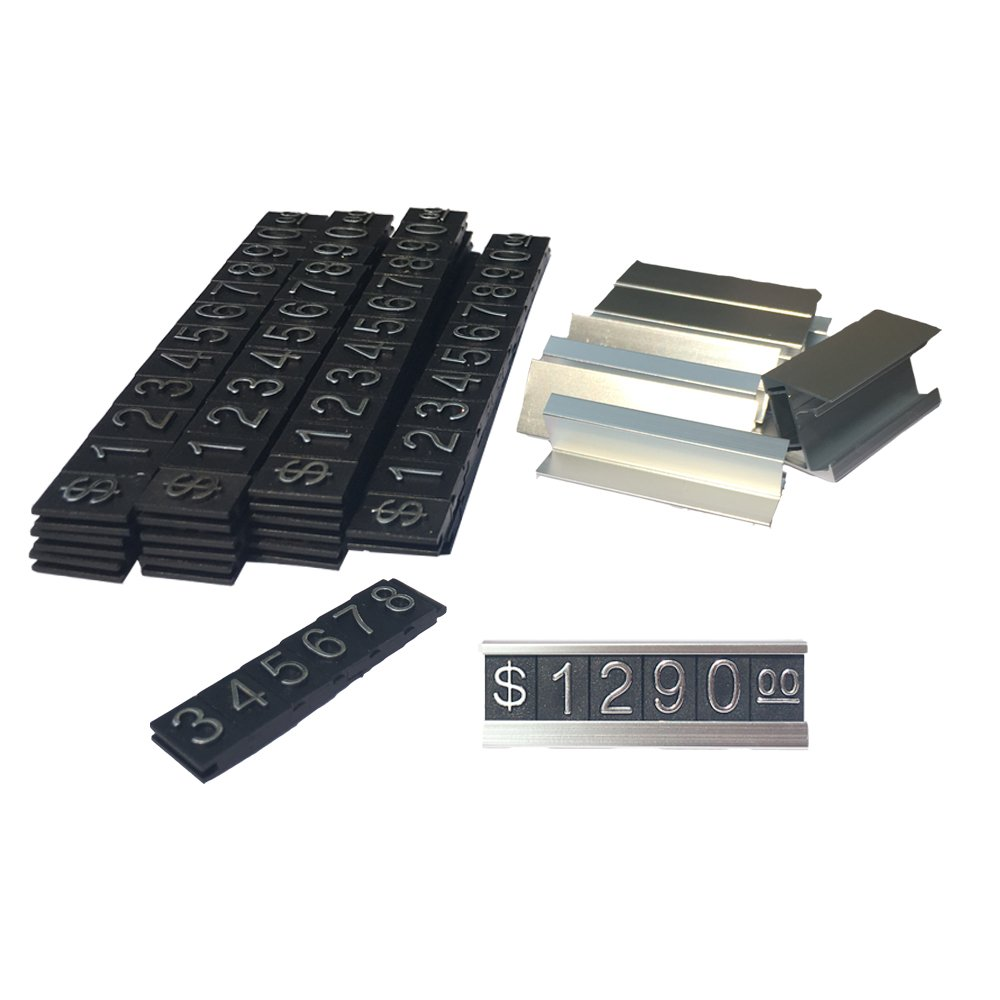 Do4U Counter Stand Label Tag Metal Arabic Price Tag Adjustable Sale Price Display Stand For Retail Shop 12 Sets (Silver) by Do4U (Image #1)