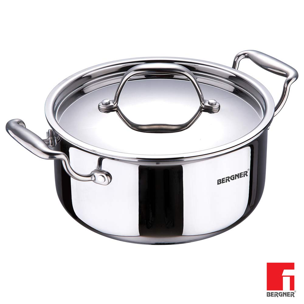 BERGNER - BG-6335 18-10 Steel Induction Base Argent Ss Triply Casserole With Lid, 22 Cm, 4.1 Litres, Silver, 2 Piece