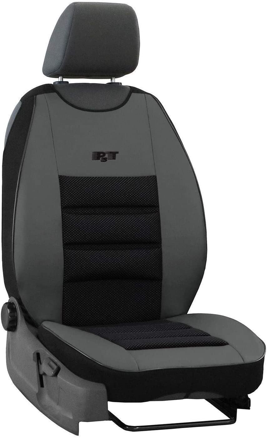 Sitzauflage Auto Vordersitze Autositzmatte Wasserdicht Autositzbezug Fahrersitz Universal Sitzschutz Kunstleder Beige mit Airbag 1 Autositz Vorne saferide