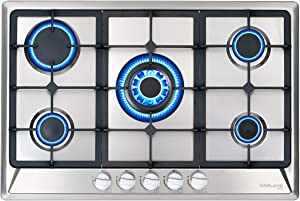 GASLAND Chef 30'' Built-in Gas Cooktops, 5 Italy Sabaf Burner Drop-in Propane/Natural Gas Cooker, 30 Inch Stainless Steel Gas Stove Top