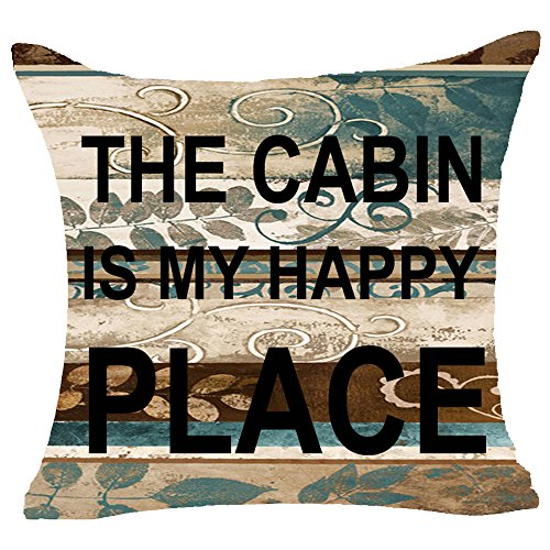 Retro Vintage Wood Grain Background Wildlife Sweet Letters The Cabin Is My Happy Place Cotton Linen Throw Pillowcase Personalized Cushion Cover NEW Home Office Decorative Square 18 X 18 Inches