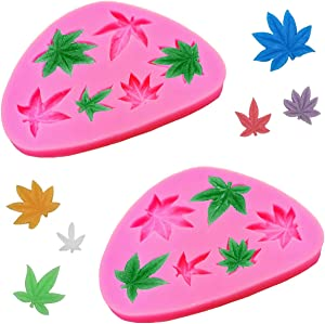 Antallcky 2 Pack Marijuana Leaf Cake Fondant Mold Pot Leaves Silicone Mold for Cannabis Weed Hemp Leaf Theme Cake Decoration, Chocolate Candy Polymer Clay Cookie Sugar Craft Projects-Pink