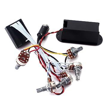 2 bandas Active Bass Master Volume guitarra ecualizador ecualizador preamplificador circuito pastilla negro: Amazon.es: Instrumentos musicales