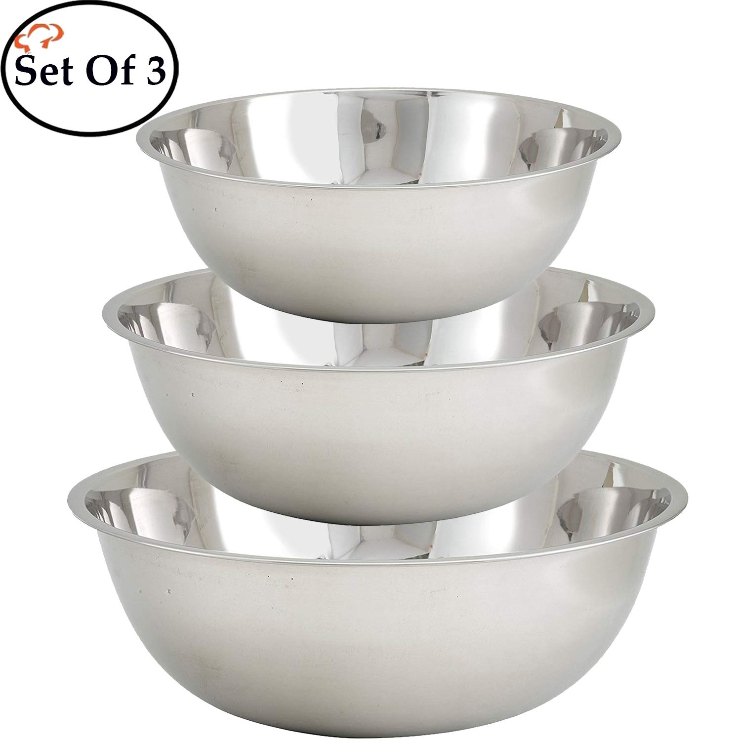 Tiger Chef Mixing Bowls Stainless Steel 13, 16 & 20 quart Multi-Purpose Commercial Cyber Monday Deals Week, Large, Set of 3