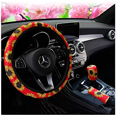 Ranxizy Neoprene Cloth Washable Sunflower Steering Wheel Cover Handbreak Cover Gear Shift Cover for Universal Car 1 Set 3 Pcs (Red): Automotive