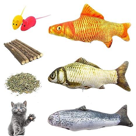 Catnip Toys, juego de juguetes para masticar con dientes de gato – 3 pescado rellenable