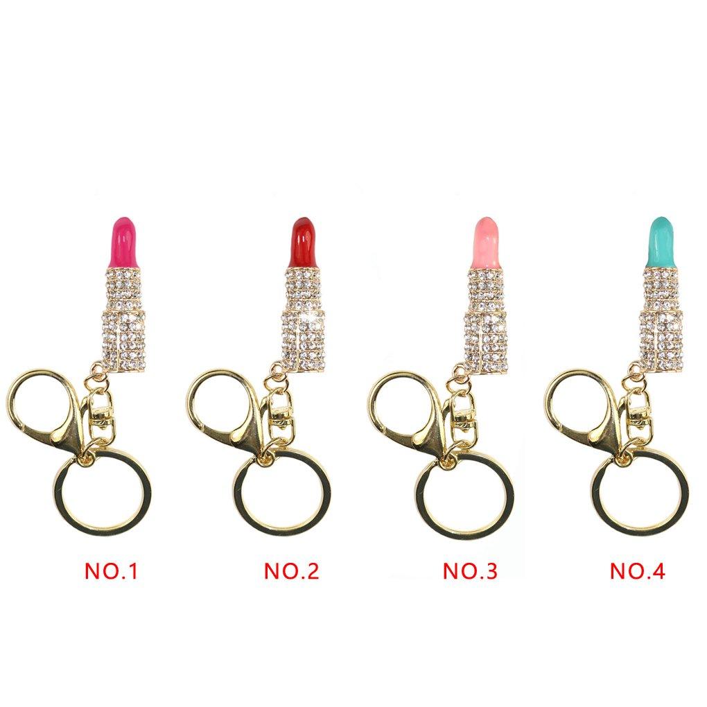 LUFA Crystal Lipstick Maquillage Porte-cl/és Rhinestone Sac Porte-cl/és Charme Porte-cl/és