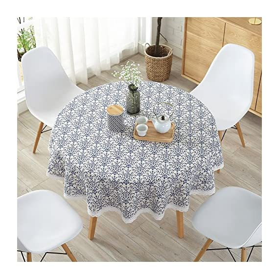 "ColorBird Vintage Navy Damask Pattern Decorative Macrame Lace Tablecloth Heavy Weight Cotton Linen Fabric Decorative Table Top Cover (Round, 60 Inch, Navy Damask) - This ColorBird damsk tablecloth features elegant foral printed in premitive linen fabric, which will add a touch of splash to any existing home decor Material: 100% polyester; Measures 60"" in Diameter, includes lace macrame length Care Instructions: Machine wash cold delicate, hand wash best; lay flat to dry - tablecloths, kitchen-dining-room-table-linens, kitchen-dining-room - 618TPqRksOL. SS570  -"