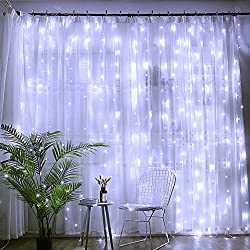 DLIUZ UL Safe 304 LED 9.8FT Linkable Curtain Lights Icicle Lights Fairy String Lights with 8 Modes for Christmas Wedding Party Family Patio Lawn Decoration (White)