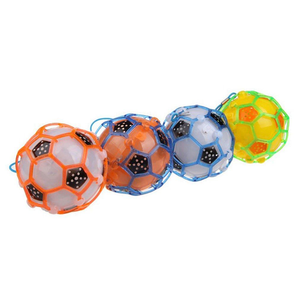 Ni/ños Bouncy Ball LED parpadeante el/éctrica M/úsica de f/útbol bola de salto de baile pelota de juguete Light Up f/útbol sin bater/ía color al azar