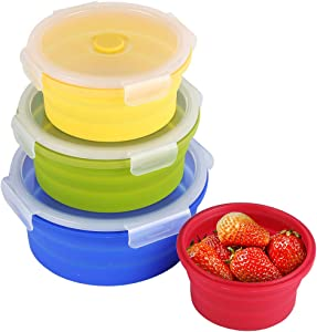 Collapsible Silicone Food Storage Containers with BPA Free Lid Meal Prep Containers Space Saver for Kitchen, Bento Lunch Boxes, Travel Picnic, Leftover, Microwave, Refrigerator Set of 4