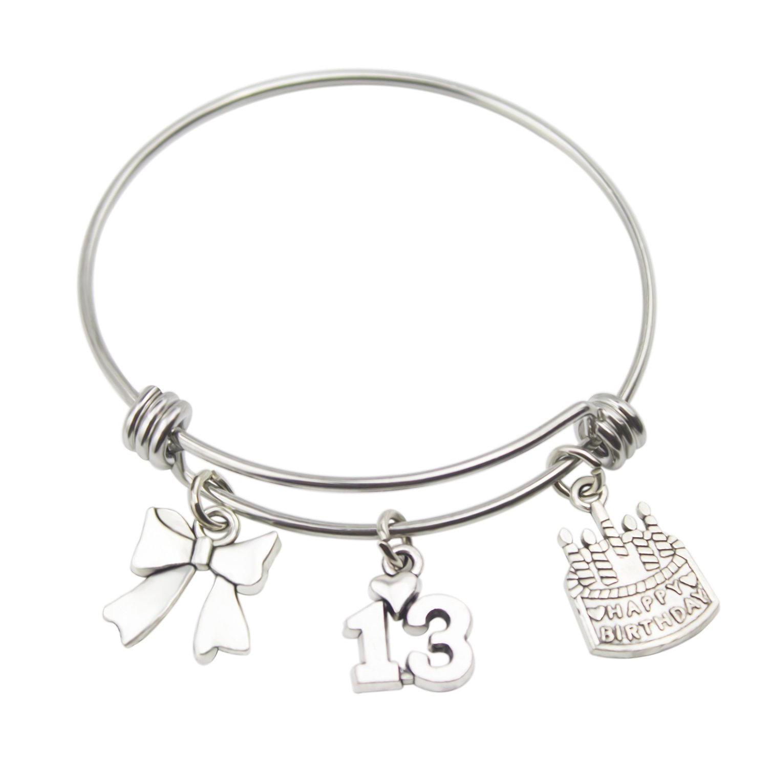 Birthday Bracelet Age Gift Bangle Stainless Steel Expandable Charm with Birthday Cake (13th)