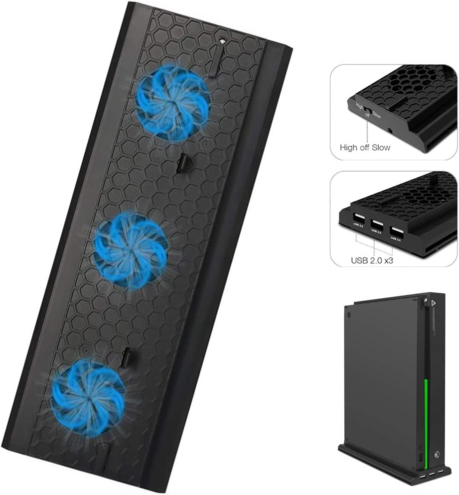 ARCELI Vertical Stand with Cooling Fan for Xbox One X, Console Holder Cooler with 3 USB Ports for Xbox One X Console