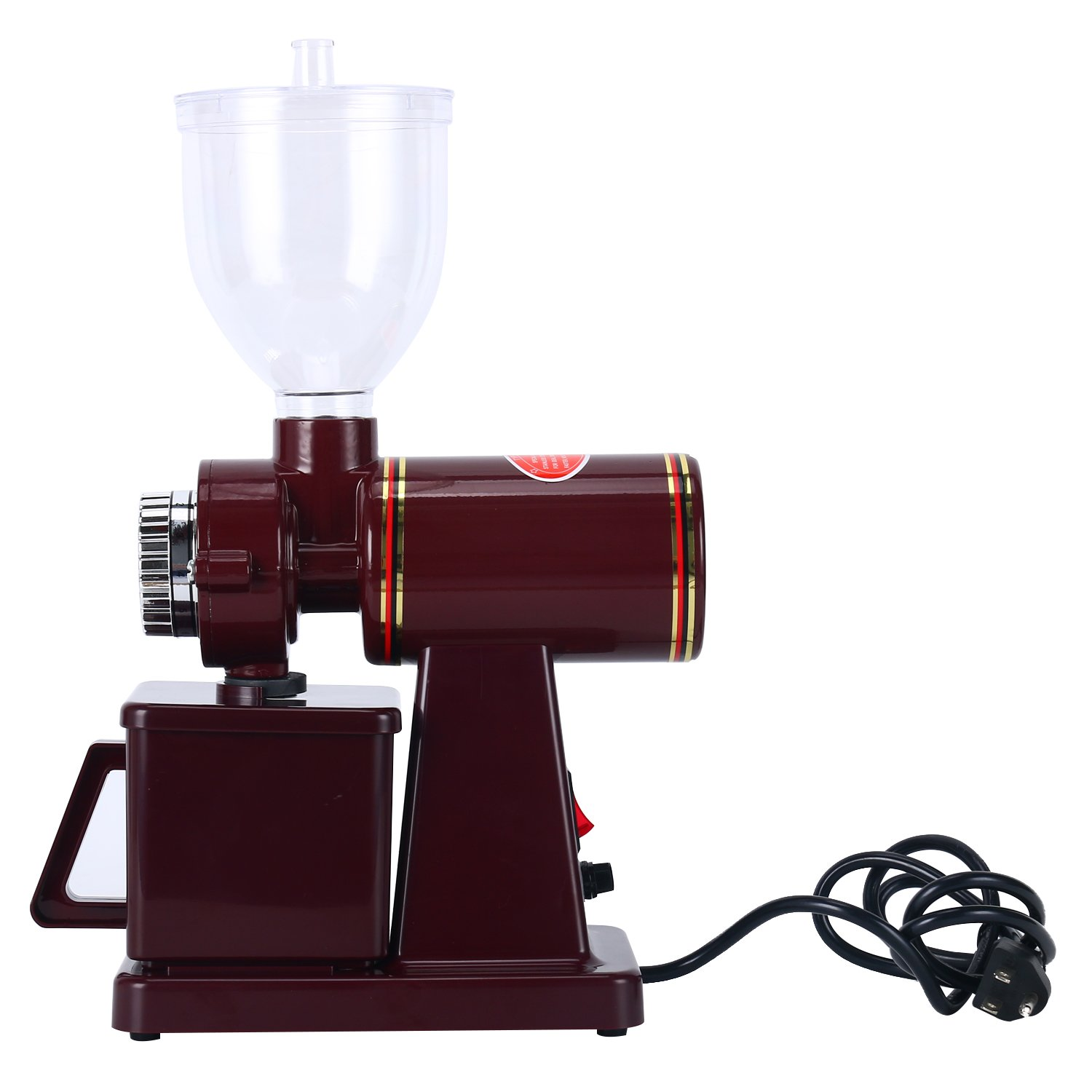 Adjustable High Quality Auto Electric Burr Coffee Grinder for Espresso Coffee Bean, Home Coffee Bean Grinder Machine, Red