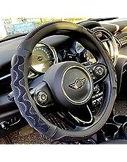 PINCTROT Steering Wheel Cover Great Grip with 3D Honeycomb Anti-Slip Design, Universal 15 Inch (Black)