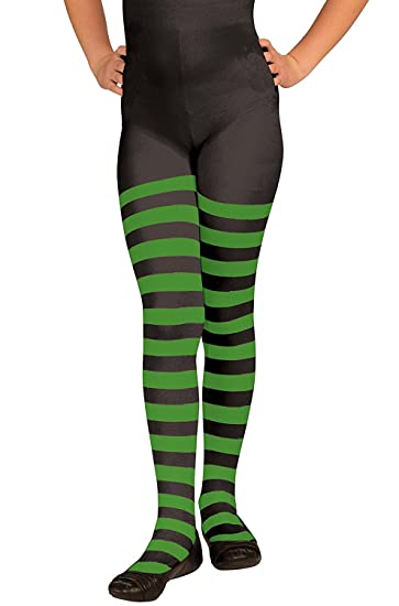 222d4096adf5c Forum Novelties Party Supplies 54760 Child Lime Green and Black Striped  Tights, Green, Black