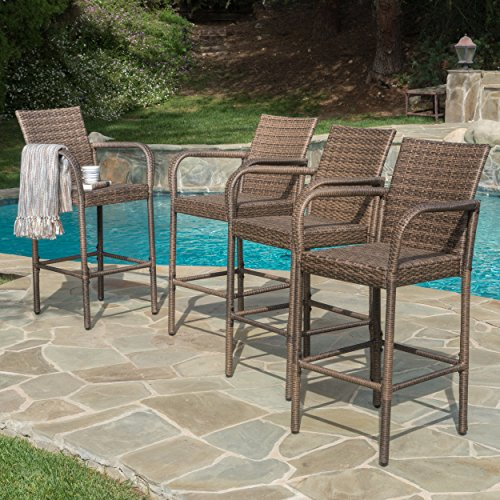 Great Deal Furniture 300371 Stewart Outdoor Wicker Bar Stool (Mix Mocha)(Set of 4) (Polyethylene Furniture Outdoor)