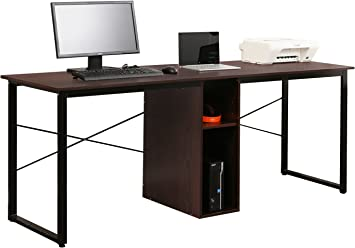 Sogeshome Large Double Workstation Desk 2 Person Computer Desk Writing Desk Home Office Desk With Storage Shelf Nsdca Ld H01 Wa Amazon Ca Home Kitchen