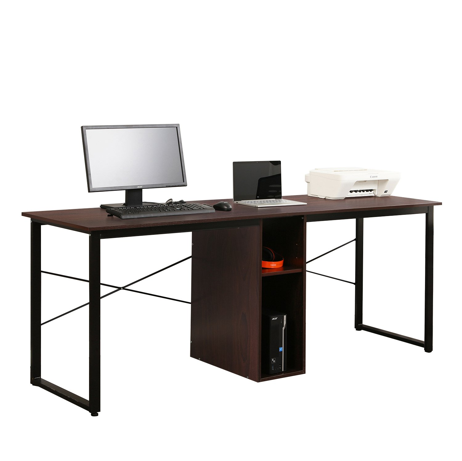 DlandHome Double Computer Desk 78'' Extra Long w/Open Adjustable Storage Multifunction Gaming Table/Studio Workstation for Home Office, Maple HZ011-W Walnut
