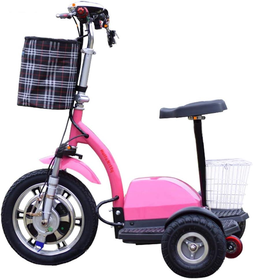Lyanh Mini Triciclo eléctrico Conveniente para el Adulto Scooter de Ocio al Aire Libre Plegable 48V12A de Litio de 160 kg de Carga máxima de la batería,Rosado