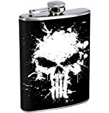 The Punisher 8oz Stainless Steel Flask Drinking Whiskey