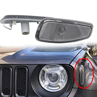BEIJIAOFLY Smoked Lens Amber LED Lights Front Side Marker Turn Signal Replacement Lamps Update Kit For Jeep Renegade 2014-UP: Automotive
