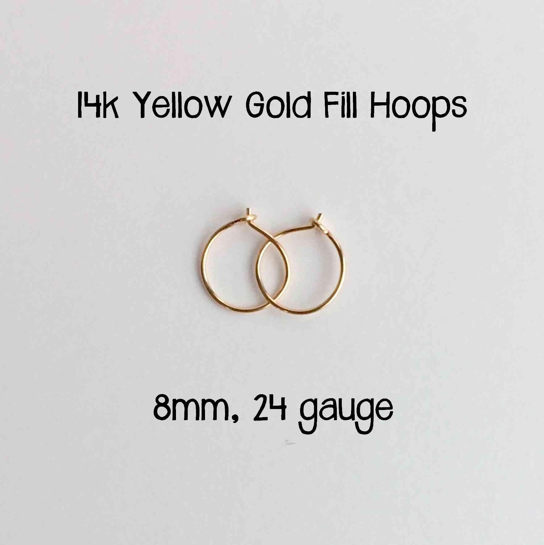 Everyday Hoop Earrings 14k Yellow Gold Fill 8mm, 24 gauge. Handmade Extra Thin Hoop Earrings