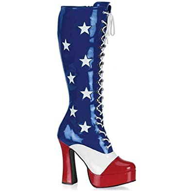 61928b13a7 Womens American Flag Boots Red White and Blue Shoes Patriotic Costume Boots  Size: 15