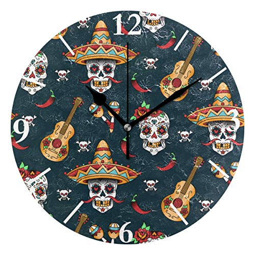 SLHFPX Wall Clock Sugar Skull Silent Non Ticking Decorative Round Digital Clocks Indoor Outdoor Kitchen Bedroom Living Room