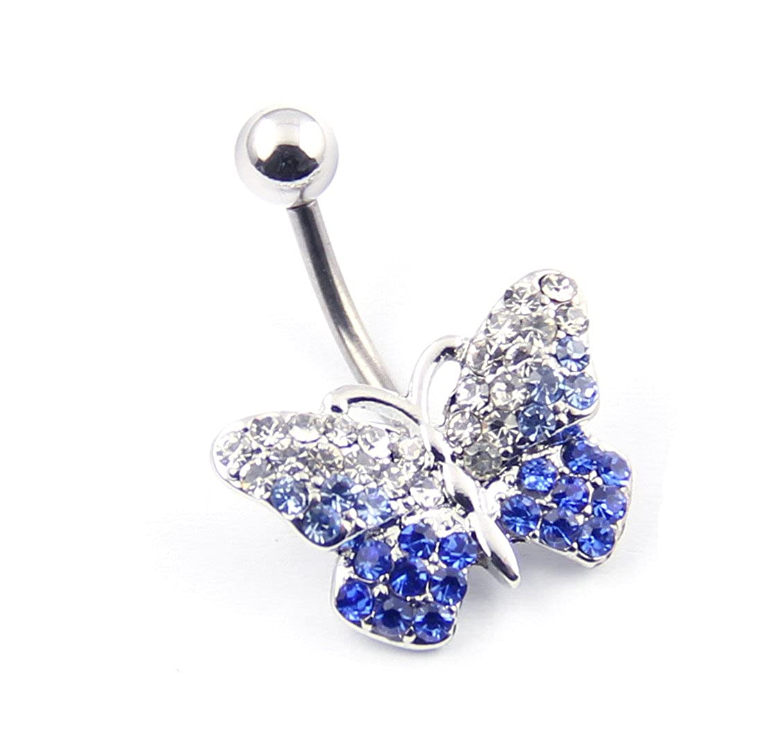 316l Stainless Steel 14g Gradient Blue Clear Gems Butterfly Bead Navel Ring Belly Bar Stud Ball Barbell