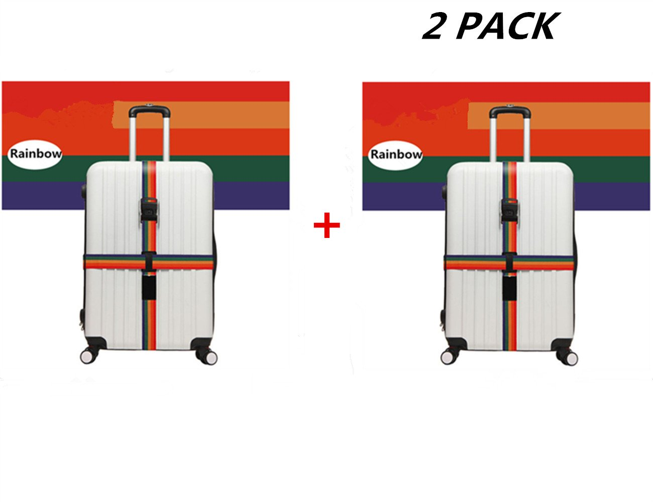 JYHY Long Cross Luggage Straps Suitcase Belts,Mixcolor(2 Pack)