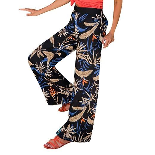 08ab9c3af7c04a VEZAD Women High Waist Printing Wide Leg Pants Out Pocket Summer Leaves  Loose Leggings Black