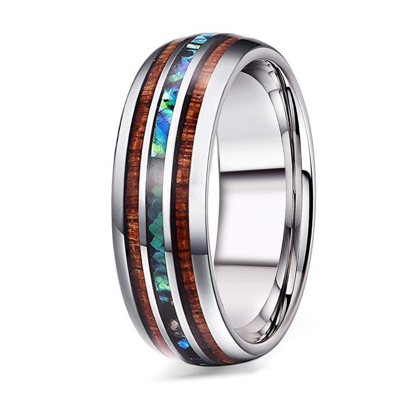 Adramata 8mm Titanium Wedding Band Rings for Men Wood Abalone Ring Comfort Fit Size 9