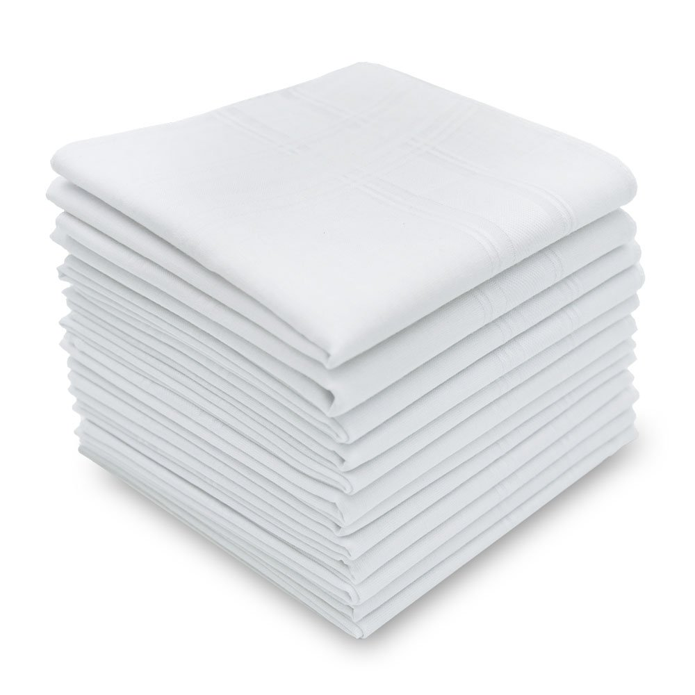 Silky Soft 100 Cotton Men's Handkerchiefs Solid White with Stripe 17'' Large Hankies 12 Pcs