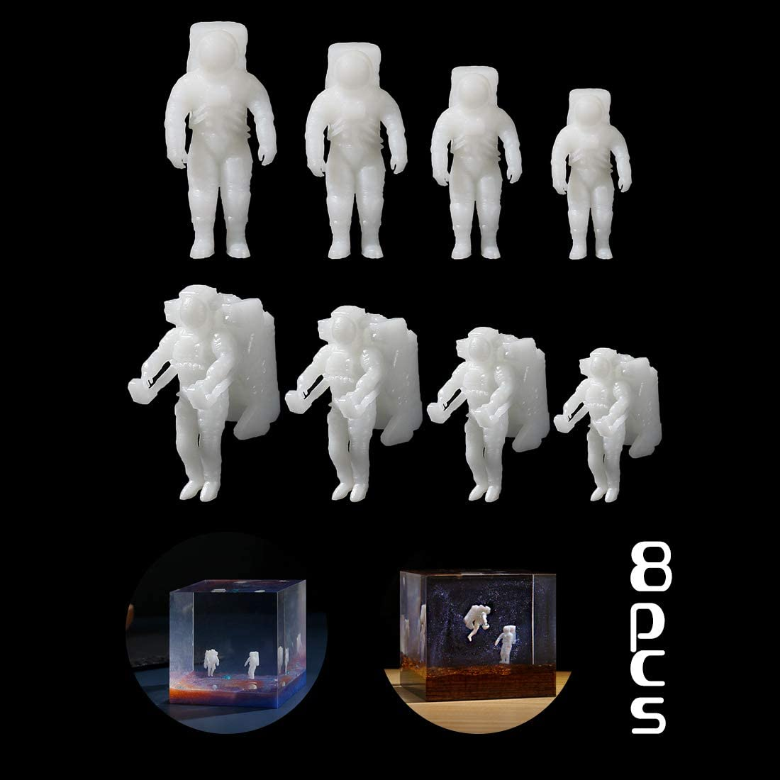 Resin Filler FineInno 8Pcs Resin Supplies Kit Plastic Small Astronaut Resin Jewelry Making Supplies Resin Fillers Material Fitment for Epoxy Mold Embellishment