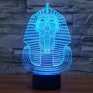 Egyptian Sphinx Pharaoh 3D Night Lighting Lamps, 7 Color Gradual Changing Touch Table Desk Lamps Home Doce or Xmas Gifts