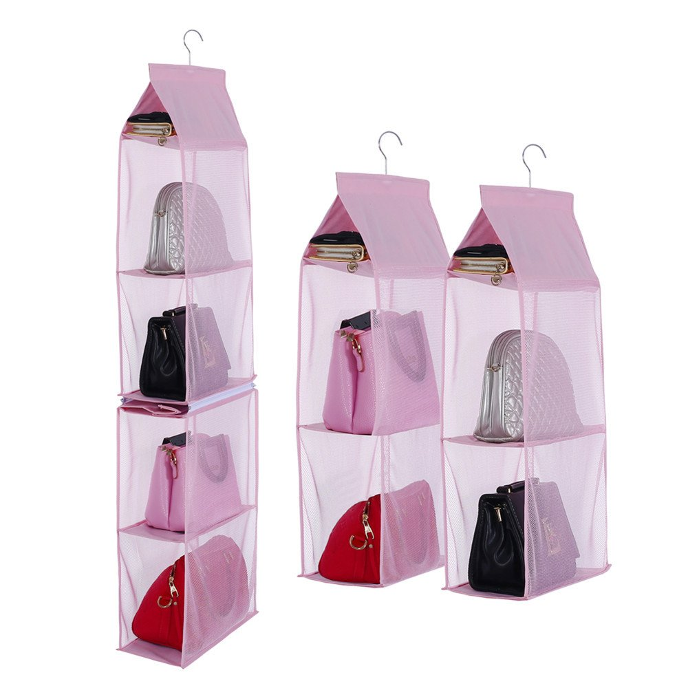 KingTo Detachable Hanging Handbag Organizer, [4 Slot 2 in 1 ] Dustproof Foldable Sundry Wardrobe Closet Space Saving Organizers System For Living Room Bedroom Home Use(Pink)
