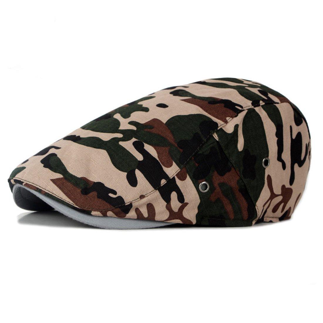 Newsboy Cap Military Camouflage Flat Cap Duckbill Hat Ivy Irish Gatsby Caps
