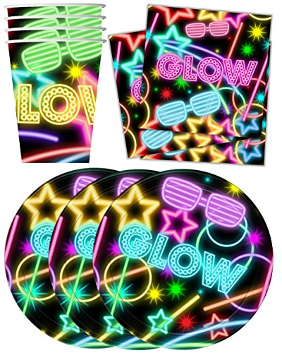 Glow-Light-Neon-Birthday-Party-Supplies-Set-Plates-Napkins-Cups-Tableware-Kit-for-16