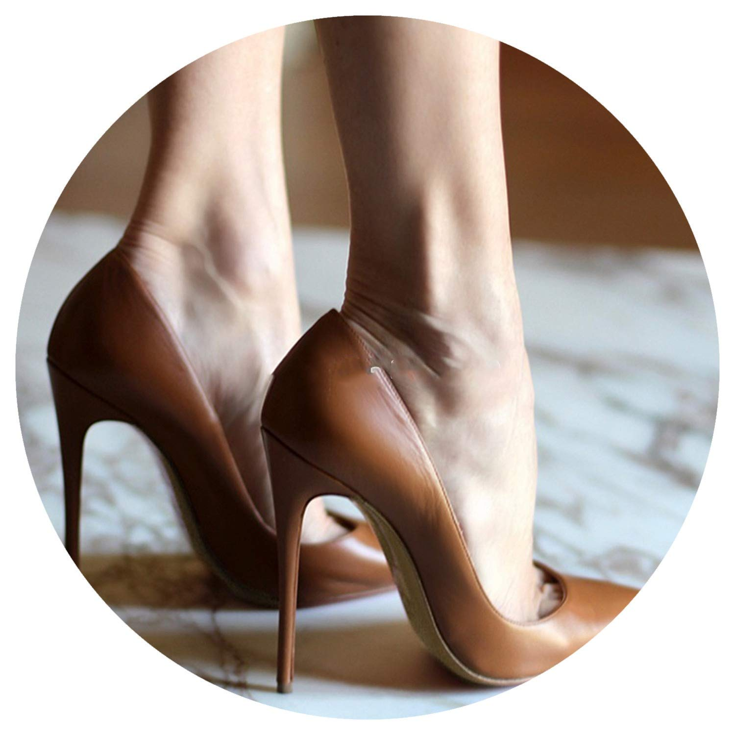 Nude Brown Wine Red Matte Leather High Heel Shoes Shallow Pumps 12cm Heels Shoes