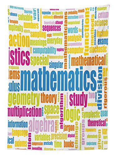 """Ambesonne Mathematics Classroom Tablecloth, Math Related Different Words Conceptual Terminology Group Print, Rectangular Table Cover for Dining Room Kitchen Decor, 60"""" X 84"""", Blue Yellow"""