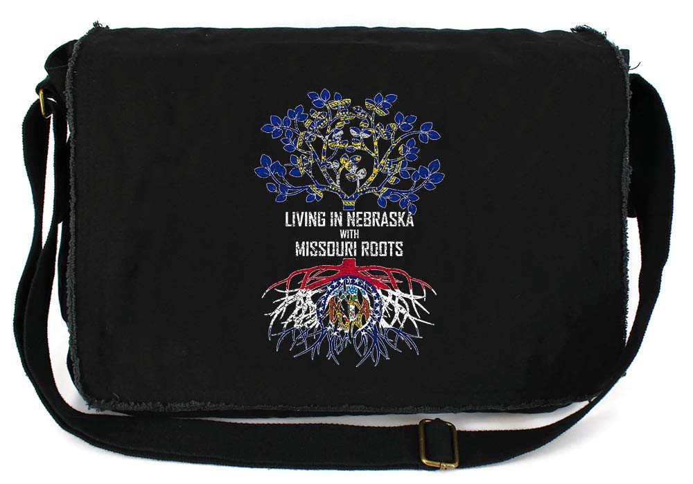 Tenacitee Living In Nebraska with Missouri Roots Grey Brushed Canvas Messenger Bag