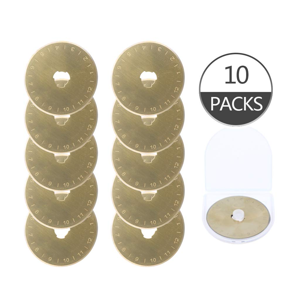 10 Pack Titanium Coated 45mm Replacement Rotary Cutter Blades for Cutter Patchwork Tool Sharp and Durable SKS-7 Quilting Sewing