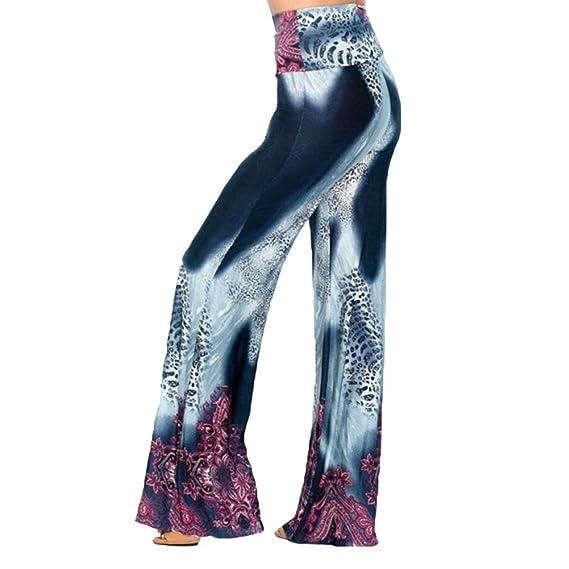 Juleya Mujer Pantalones Bootcut Pantalones Acampanados Pantalones Marlene de Cintura Alta Estampado de Flores Pantalones Casuales Desgaste Festivo de la ...