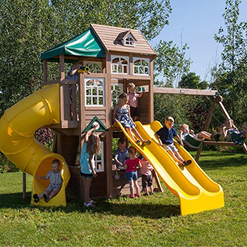 (Cedar Summit Lookout Lodge 3 Slide Cedar Playset (assembly required))