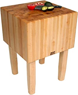 product image for John Boos Solid 16 Inch Hard Rock Maple End Grain Butcher Block on Square Legs, 24 x 24 Inch