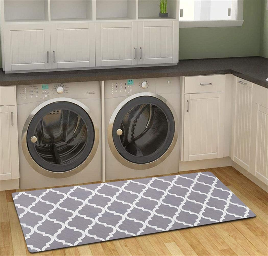 Amazon Com Homcomoda Area Rug Gray Laundry Room Mat Non Skid Rubber Backing Kitchen Rug Durable Runner Rugs Floor Mats 20 48 Kitchen Dining