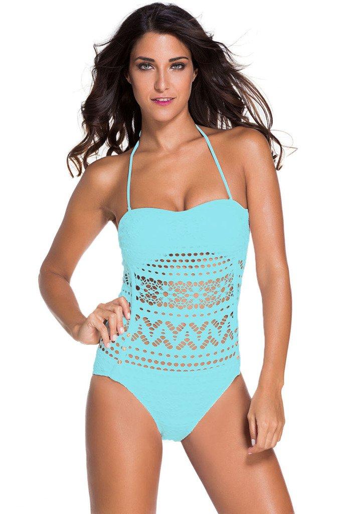 Tiksawon Women Sexy Floral Lace Halter One Piece Swimsuit Swimwear S Light Blue